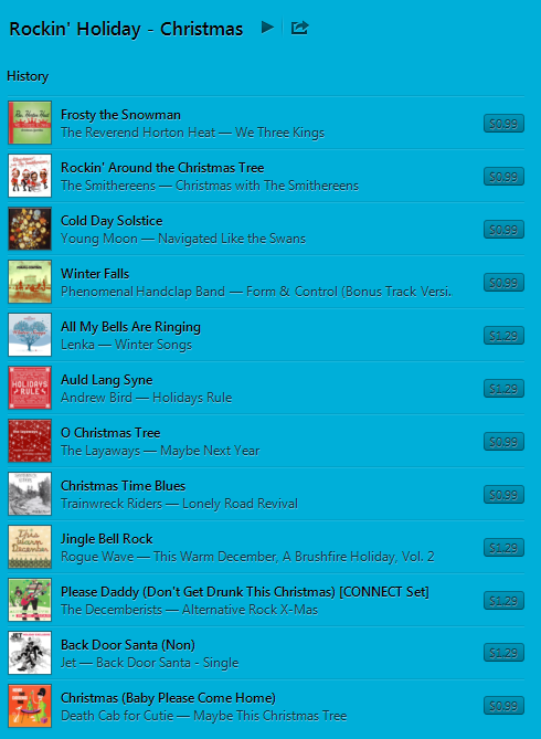 example playlist from iTunes Radio's Rockin' Holiday station